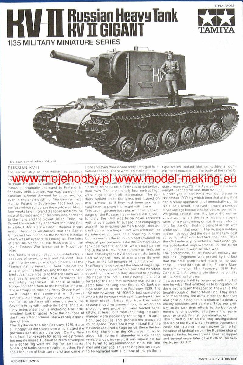 kv ii russian heavy tank tamiya 35063. Black Bedroom Furniture Sets. Home Design Ideas