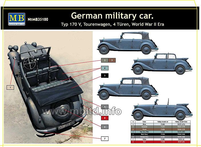 German military car typ 170v tourenwagen 4 turen 1937 1940 for 1 1 2 box auto